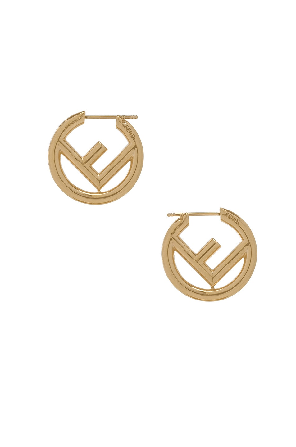 Image 3 of Fendi FF Mismatched Hoop Earrings in Gold
