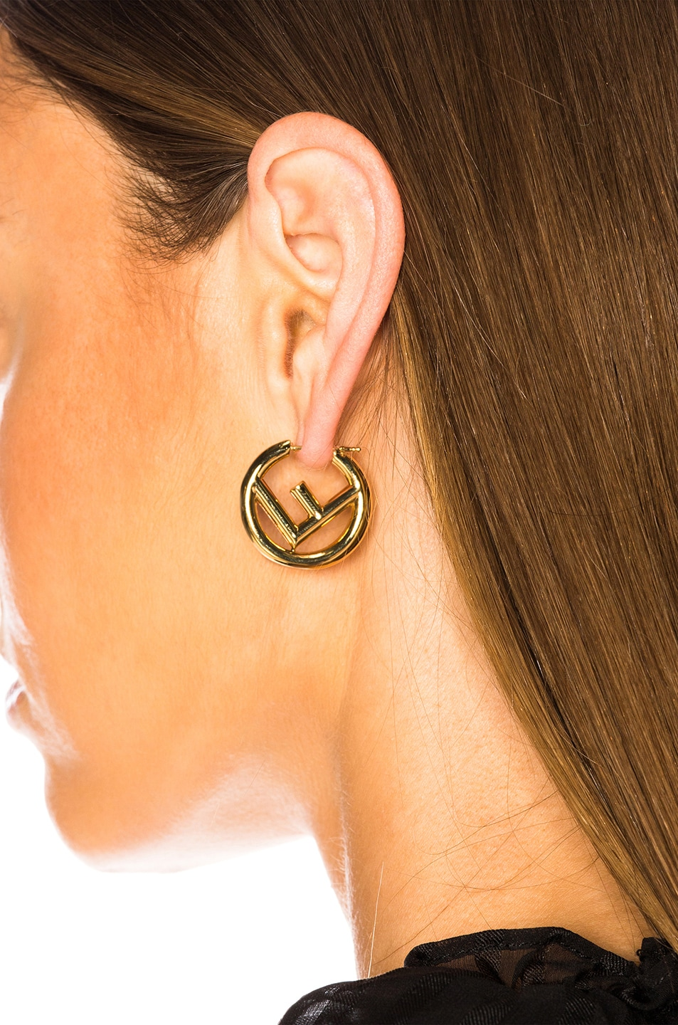 Image 4 of Fendi FF Mismatched Hoop Earrings in Gold