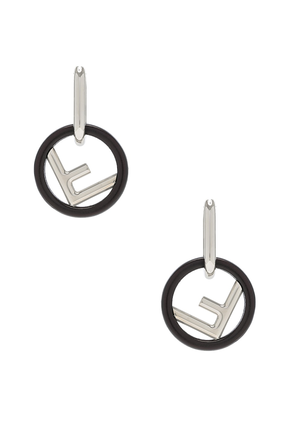 Image 1 of Fendi Small Logo Drop Earrings in Black & Silver