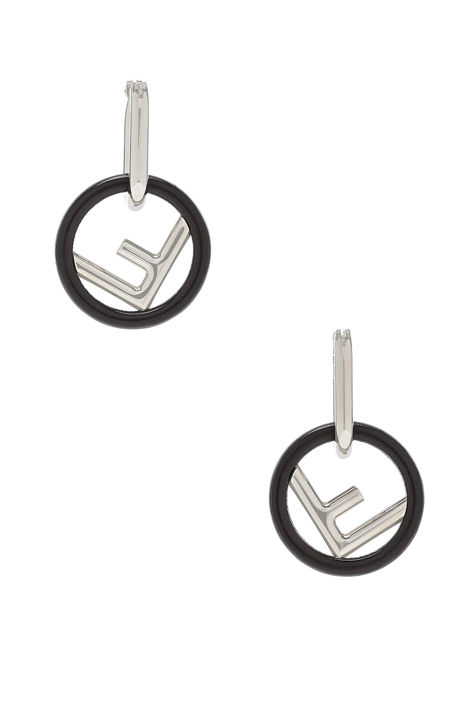 Image 4 of Fendi Small Logo Drop Earrings in Black & Silver
