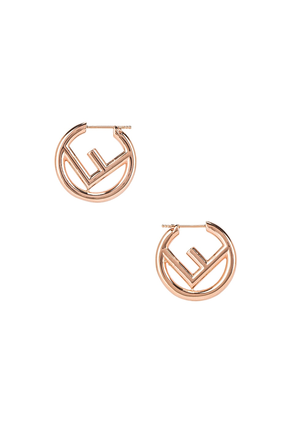 Image 1 of Fendi Mismatched Mini Logo Hoop Earrings in Rose Gold