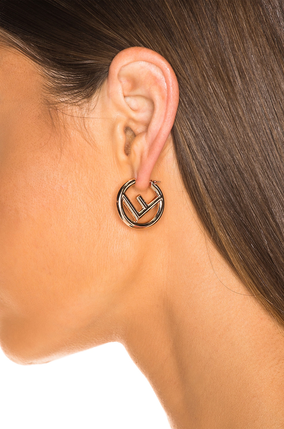 Image 2 of Fendi Mismatched Mini Logo Hoop Earrings in Rose Gold