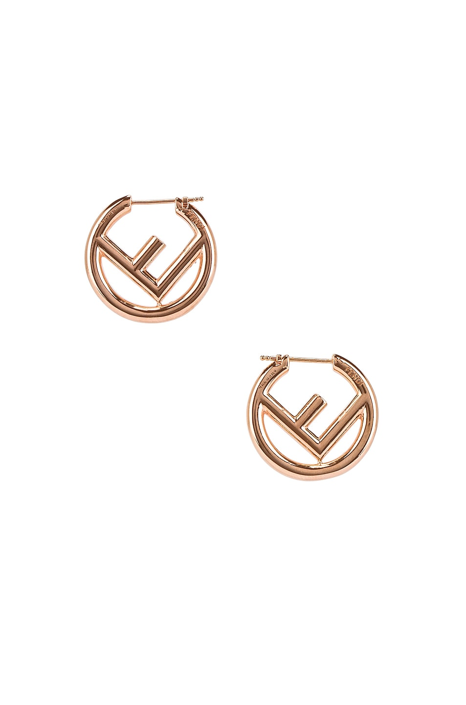 Image 4 of Fendi Mismatched Mini Logo Hoop Earrings in Rose Gold