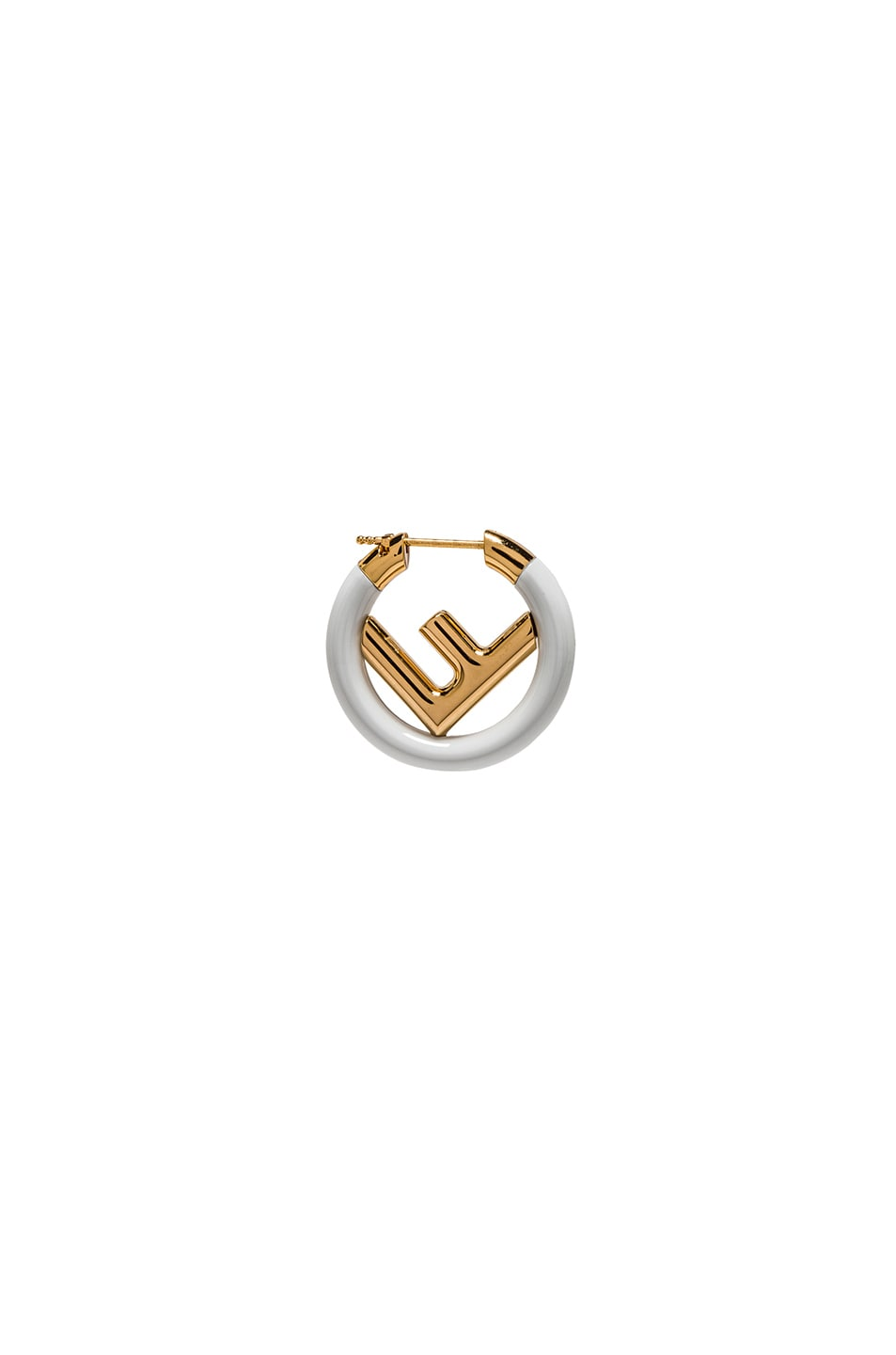Image 1 of Fendi Mini Logo Hoop Single Earring in White & Gold