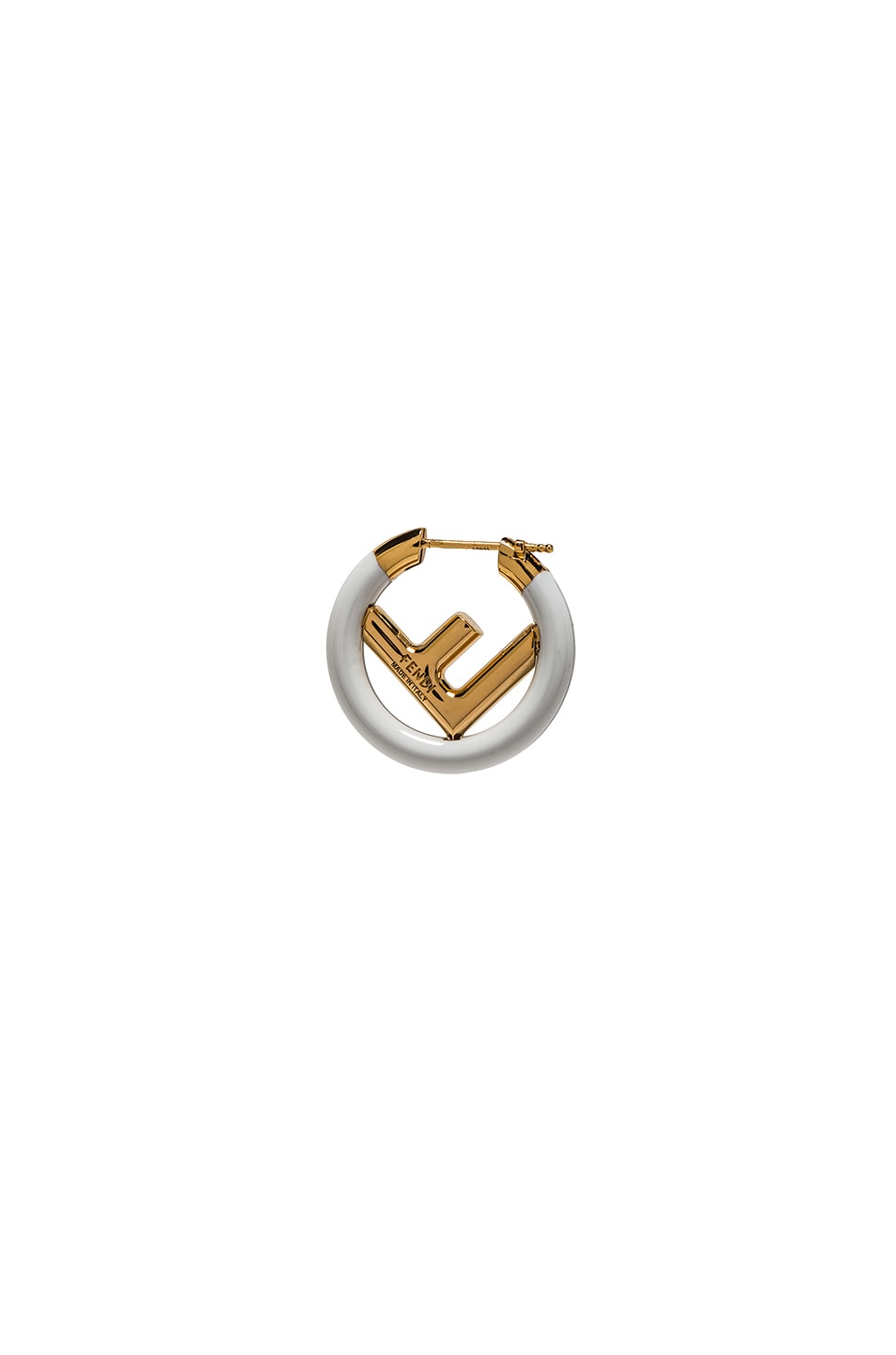 Image 3 of Fendi Mini Logo Hoop Single Earring in White & Gold