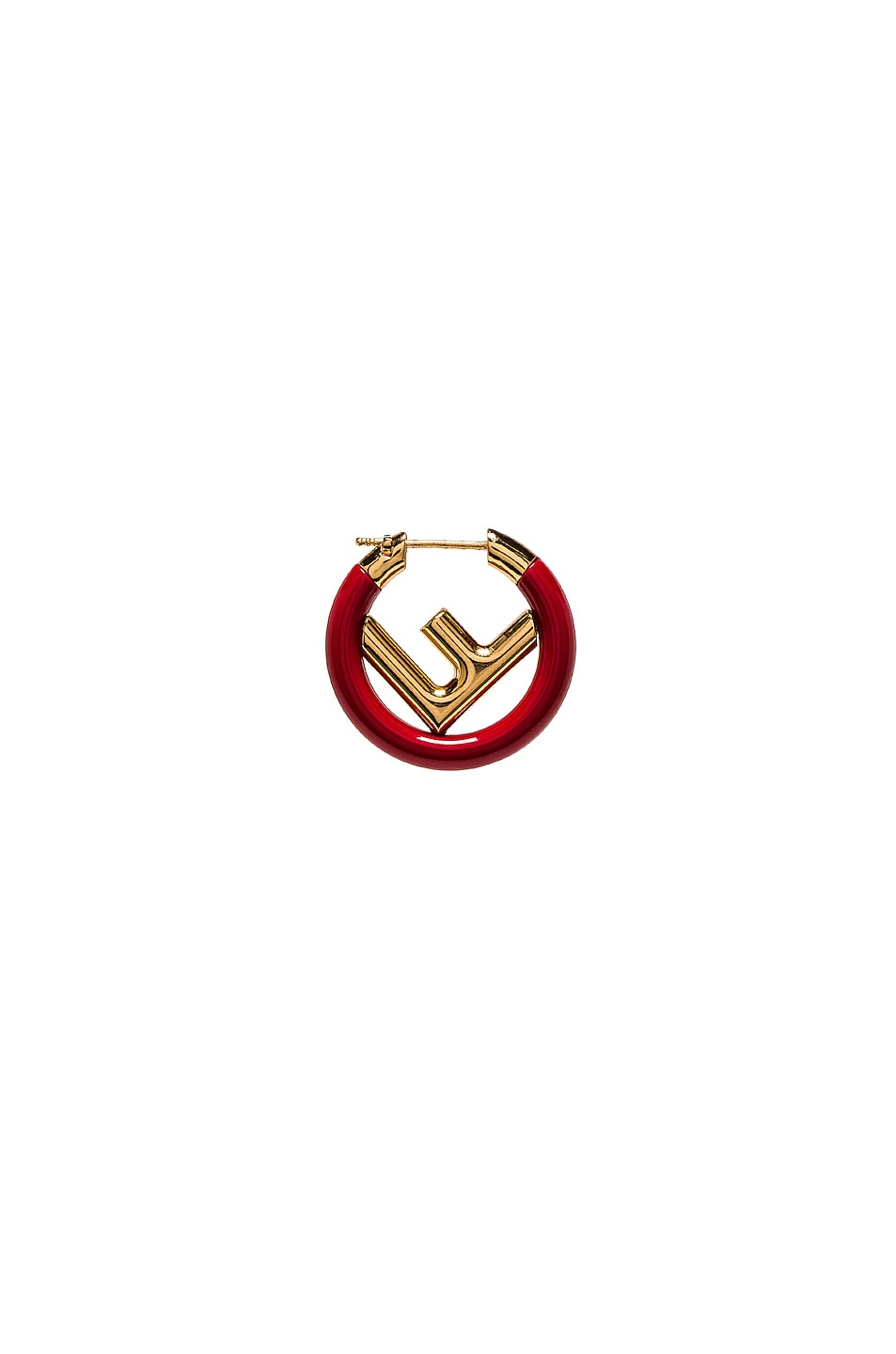 Image 1 of Fendi Mini Logo Hoop Single Earring in Red & Gold