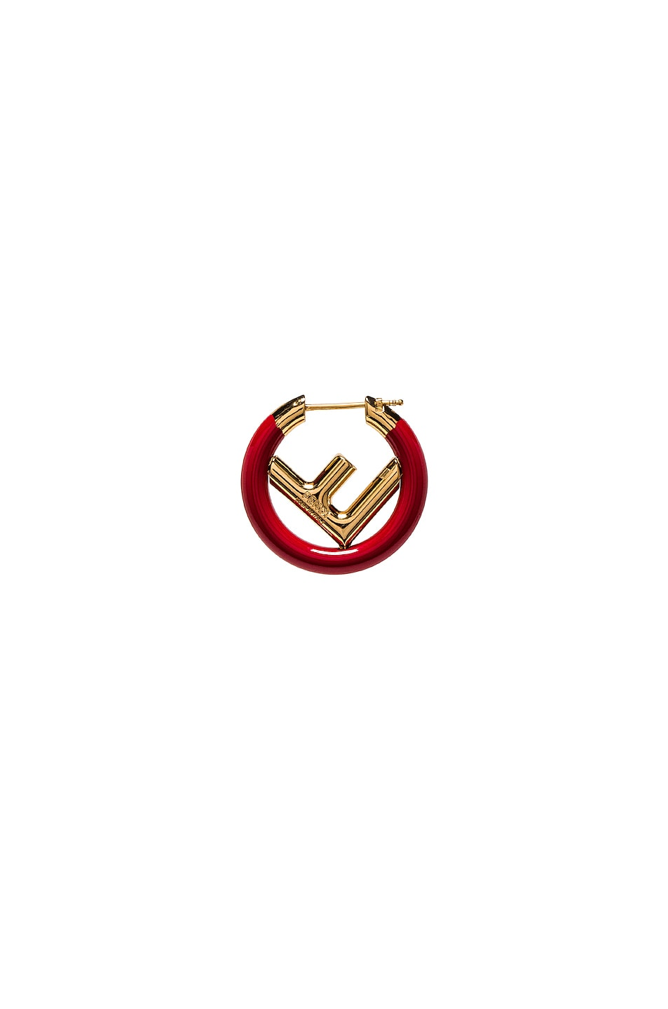 Image 4 of Fendi F is Fendi Earring in Red & Gold