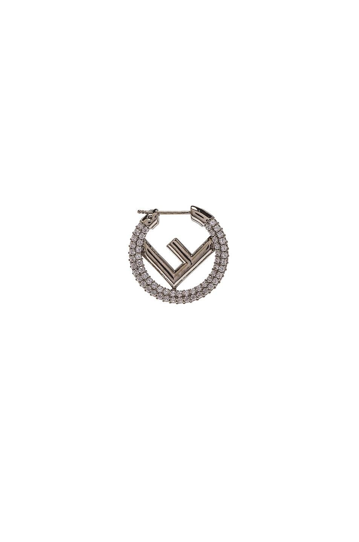 Image 1 of Fendi Mini Crystal Logo Hoop Single Earring in Palladium & Crystal