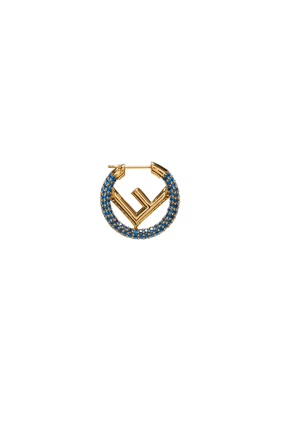 Image 1 of Fendi Mini Crystal Logo Hoop Single Earring in Blue & Gold