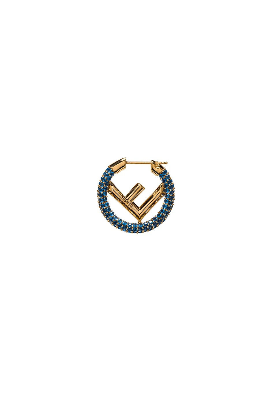 Image 3 of Fendi Mini Crystal Logo Hoop Single Earring in Blue & Gold