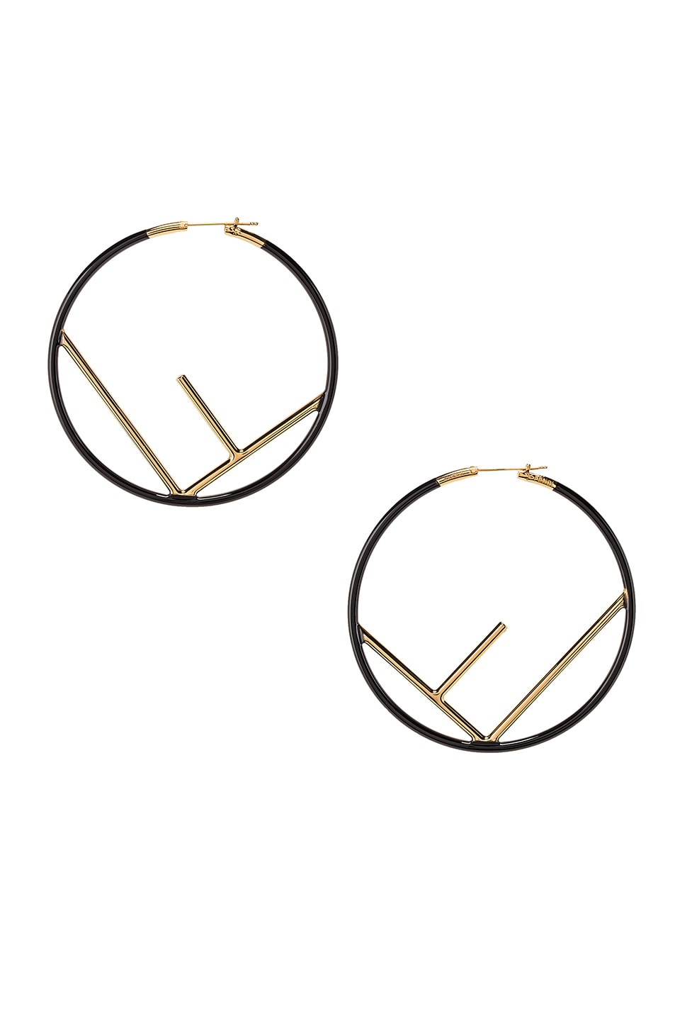 Image 1 of Fendi Large Logo Hoop Earrings in Black & Gold