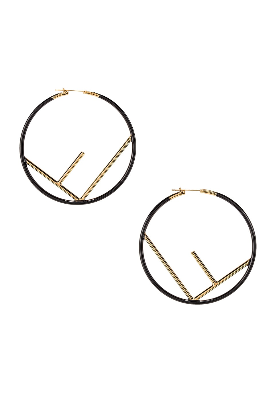 Image 3 of Fendi Large Logo Hoop Earrings in Black & Gold