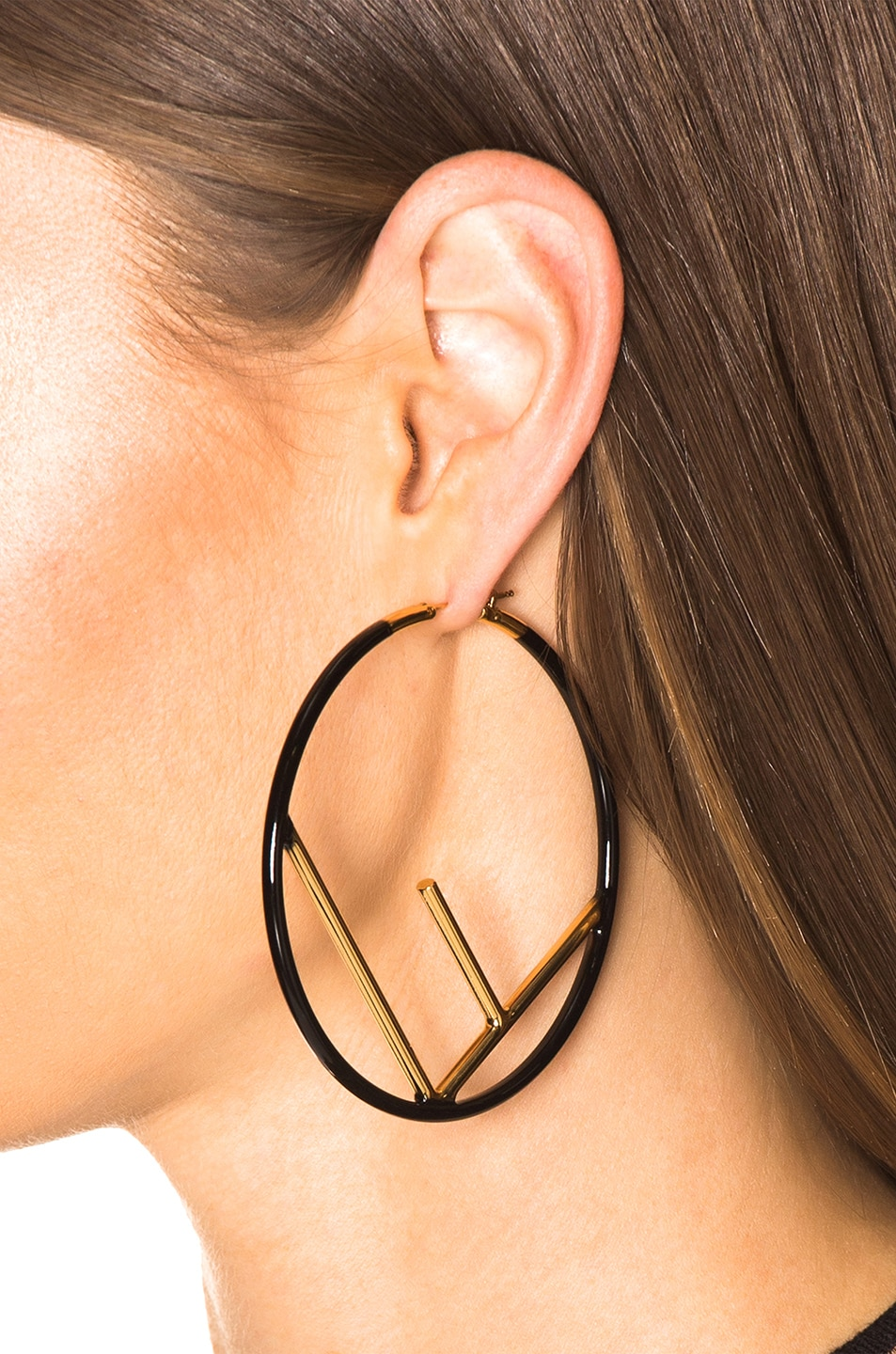 Image 4 of Fendi Large Logo Hoop Earrings in Black & Gold