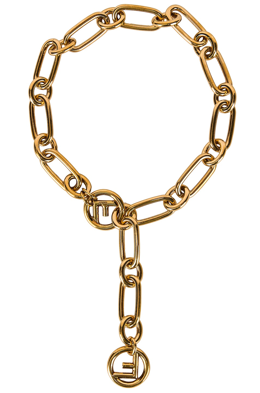 Image 1 of Fendi Logo Necklace in Gold