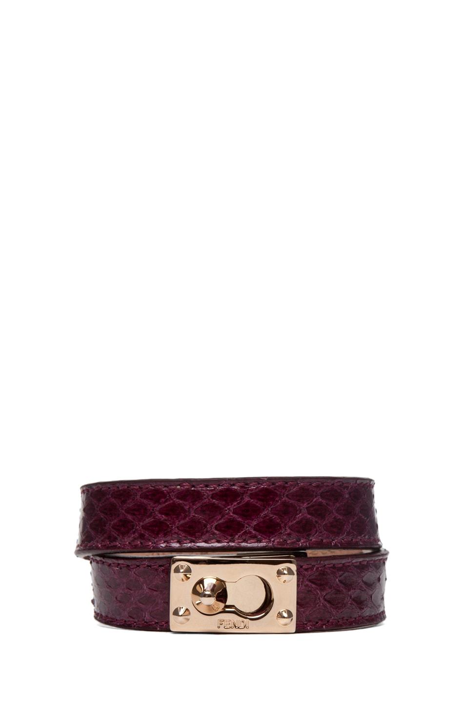 Image 1 of Fendi Wrapped Bracelet in Burgundy