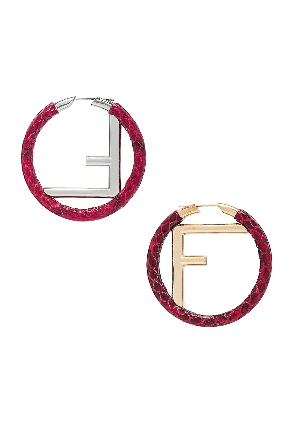 Image 1 of Fendi FF Snakeskin Hoop Earrings in Strawberry
