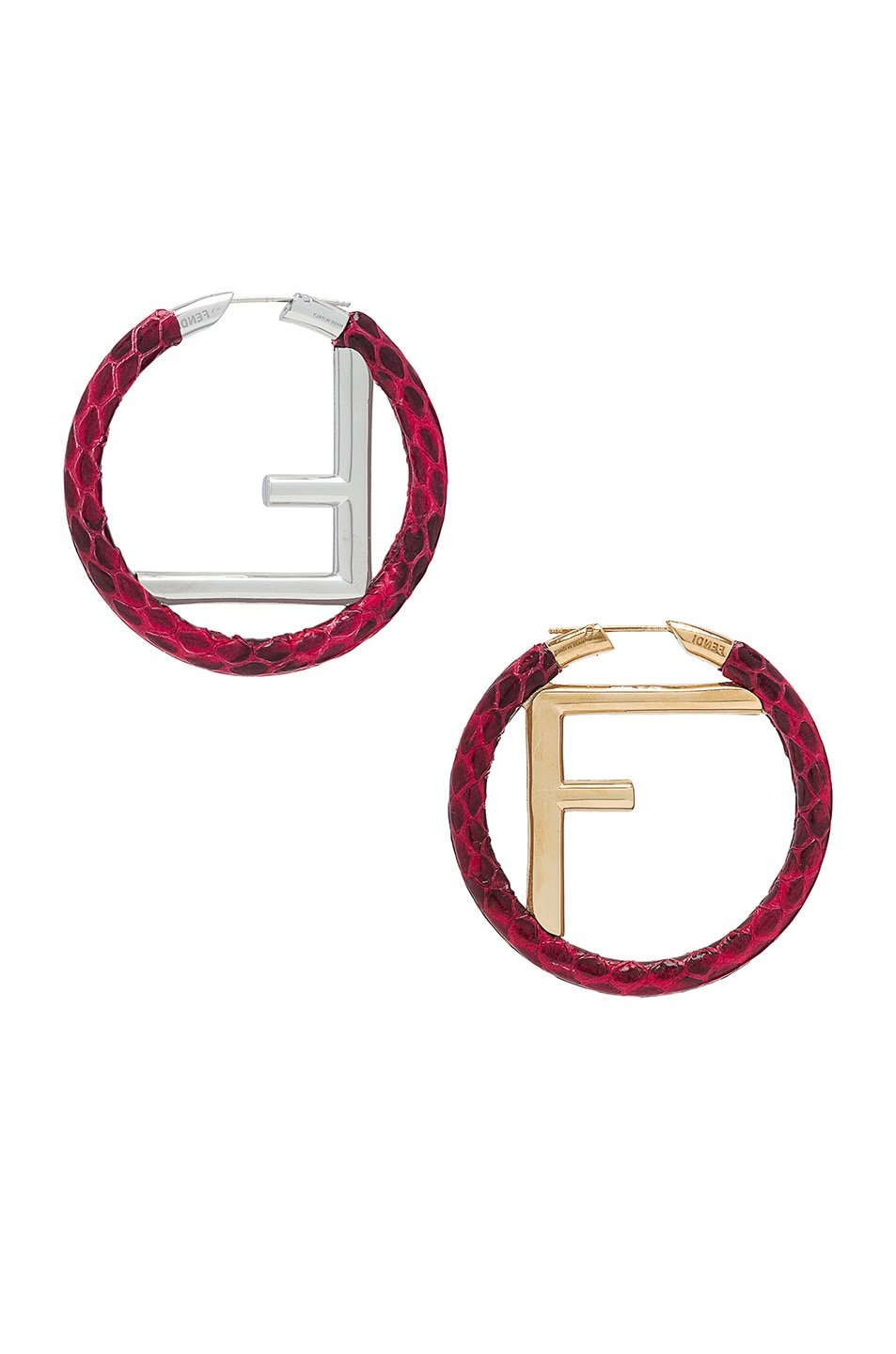 Image 3 of Fendi FF Snakeskin Hoop Earrings in Strawberry