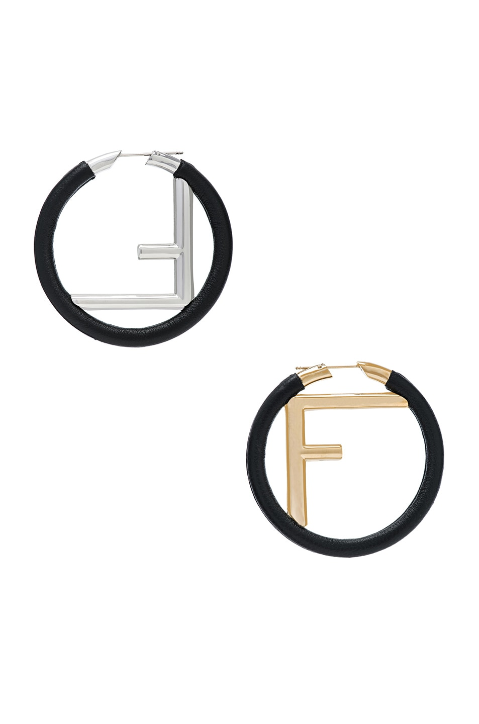 Image 1 of Fendi FF Hoop Earrings in Black