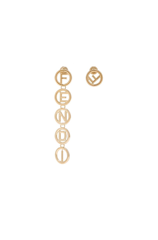 Image 1 of Fendi Logo Drop Earrings in Gold