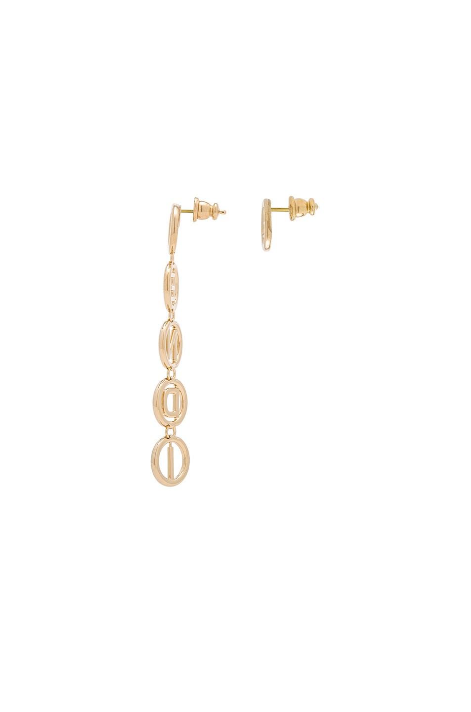 Image 2 of Fendi Logo Drop Earrings in Gold