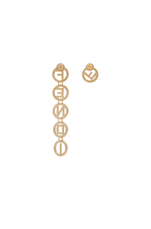 Image 3 of Fendi Logo Drop Earrings in Gold