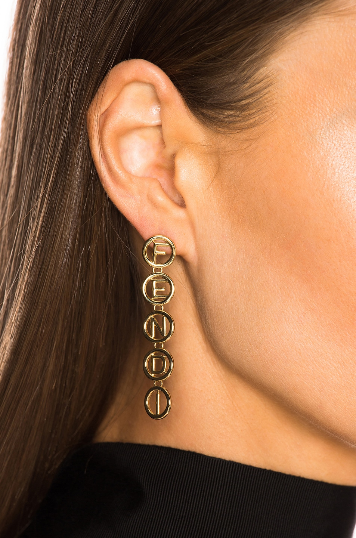 Image 4 of Fendi Logo Drop Earrings in Gold