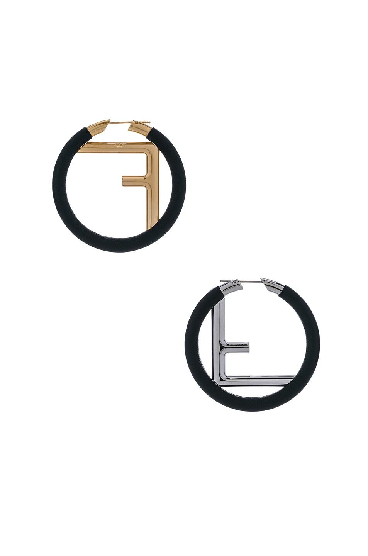 Image 3 of Fendi FF Hoop Earrings in Black