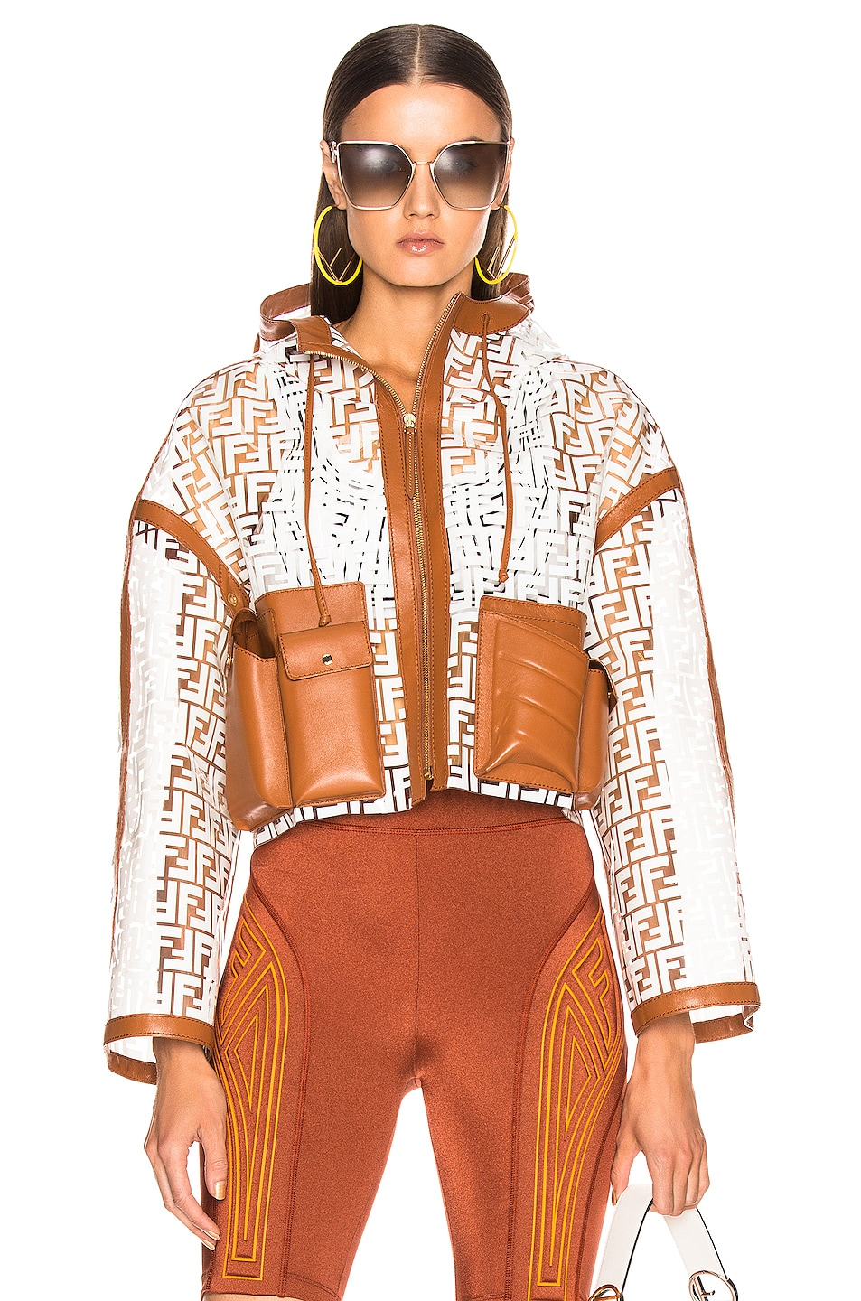 Image 1 of Fendi FF Glass Crop Jacket in White