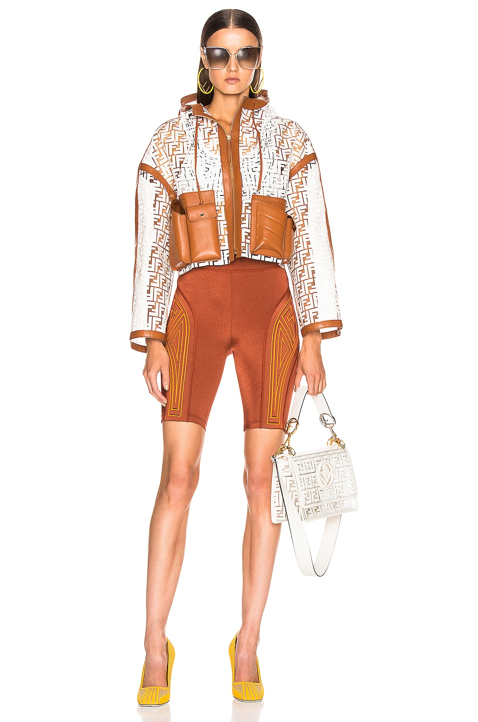 Image 5 of Fendi FF Glass Crop Jacket in White