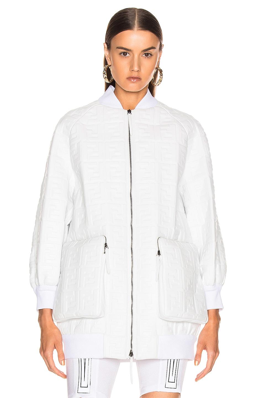 Image 2 of Fendi Logo Embossed Leather Jacket in White