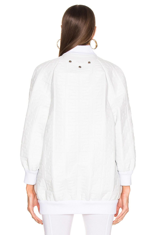 Image 4 of Fendi Logo Embossed Leather Jacket in White