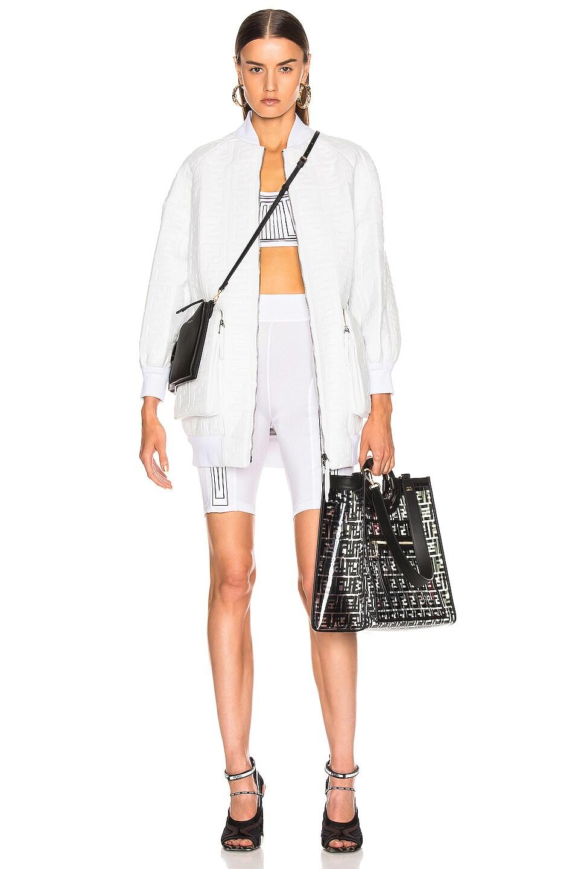 Image 5 of Fendi Logo Embossed Leather Jacket in White