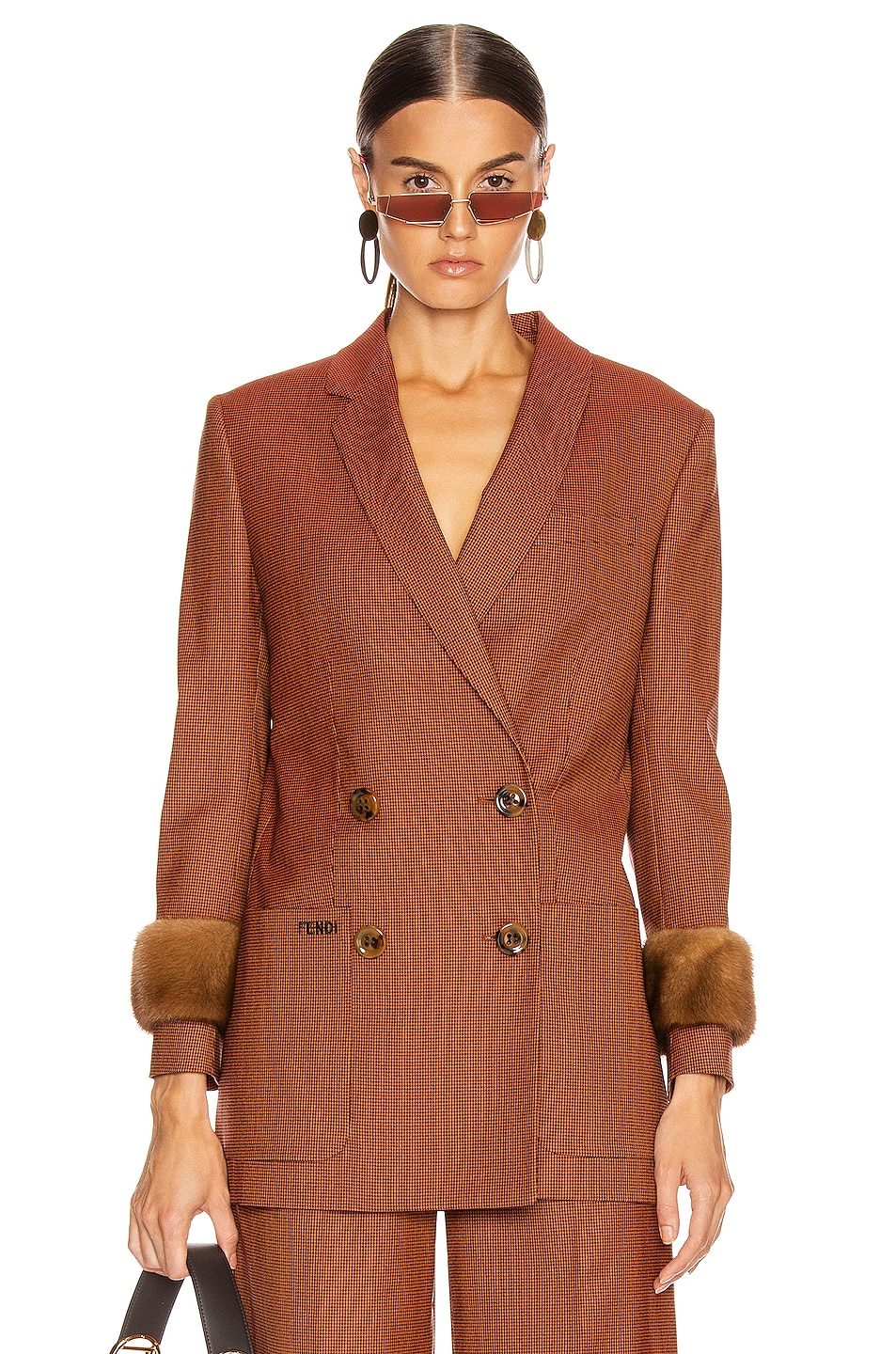 Image 1 of Fendi Double Breasted Blazer Jacket in Dark Red