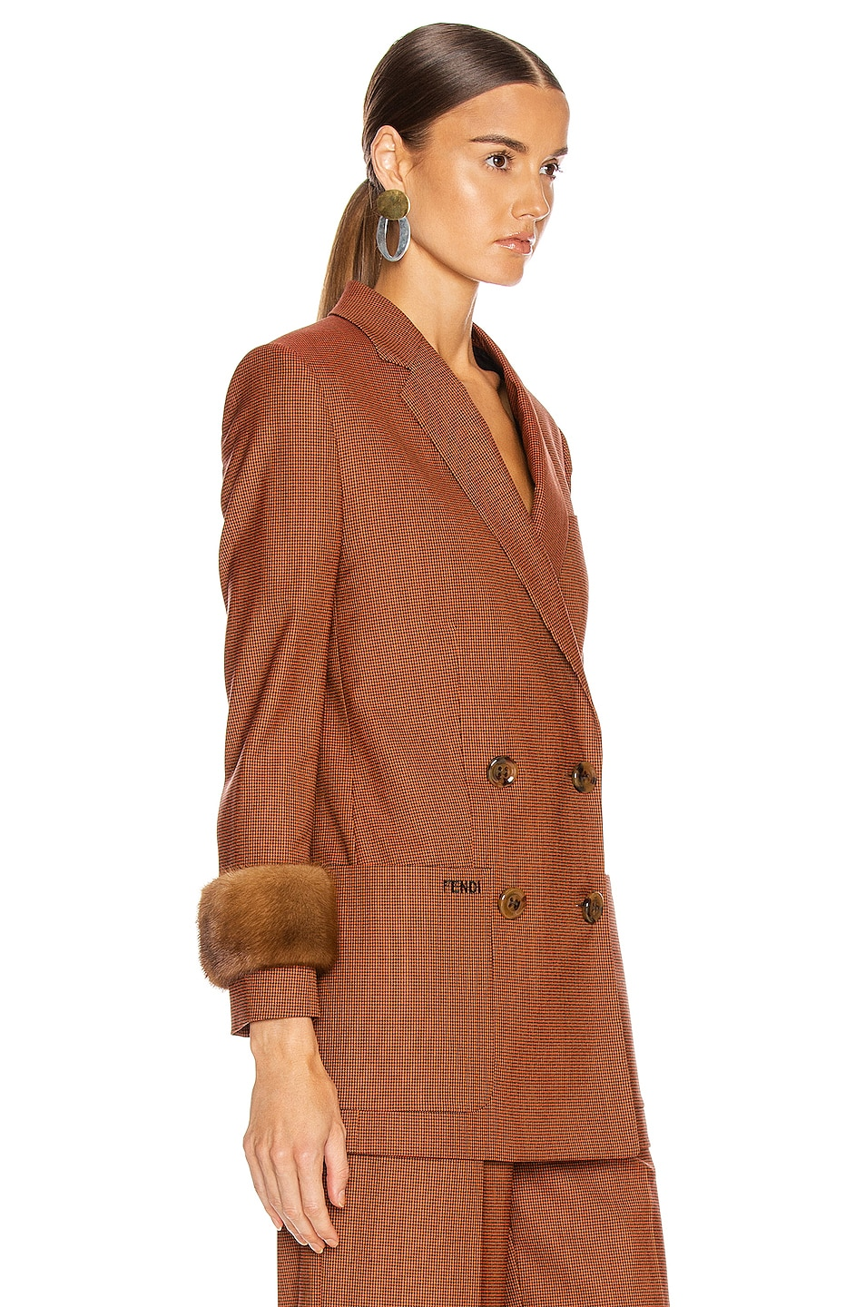 Image 2 of Fendi Double Breasted Blazer Jacket in Dark Red