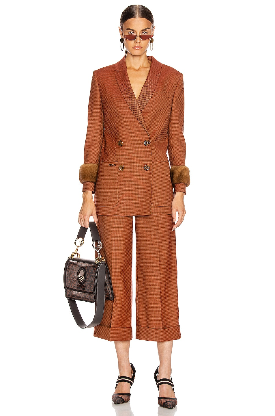 Image 4 of Fendi Double Breasted Blazer Jacket in Dark Red