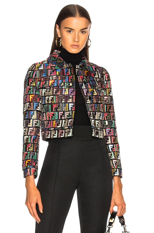 Image 1 of Fendi Logo Print Jacquard Jacket in Multicolor