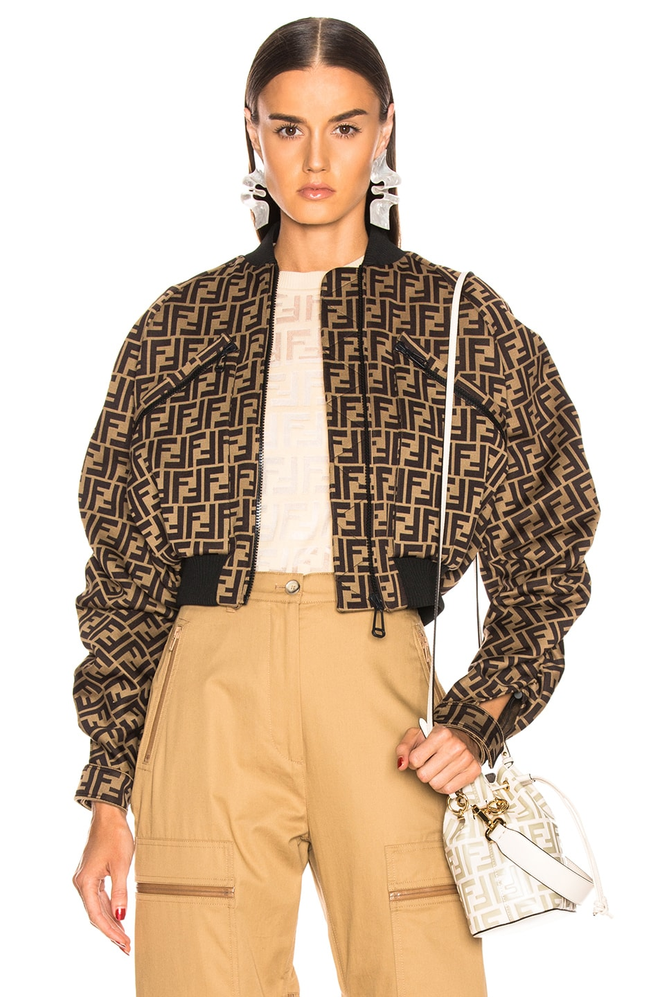 Image 1 of Fendi Ruched Logo Jacket in Mud & Dark Brown