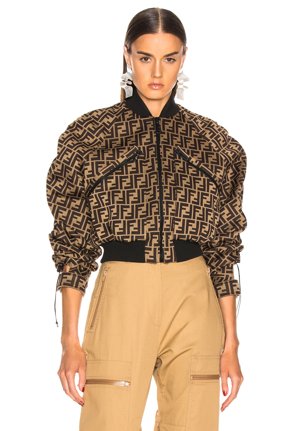 Image 2 of Fendi Ruched Logo Jacket in Mud & Dark Brown