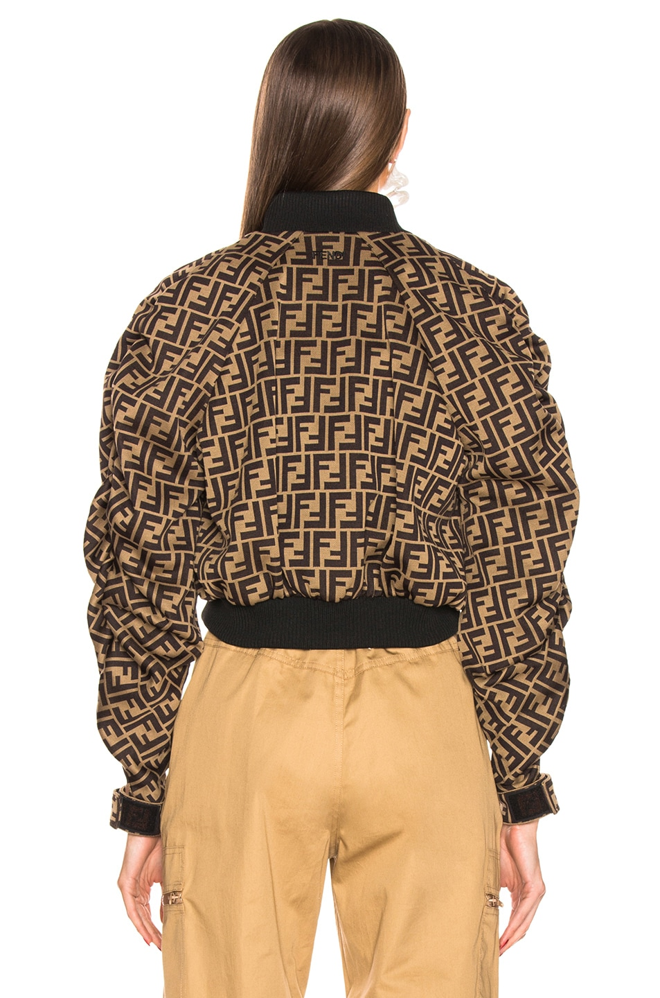 Image 4 of Fendi Ruched Logo Jacket in Mud & Dark Brown