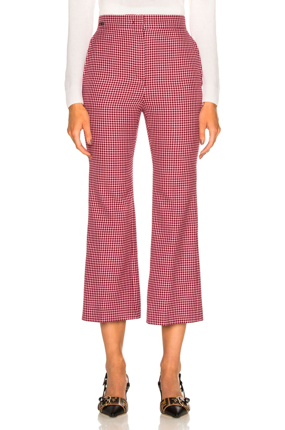 Image 1 of Fendi Micro Madras Wool Pants in Jelly