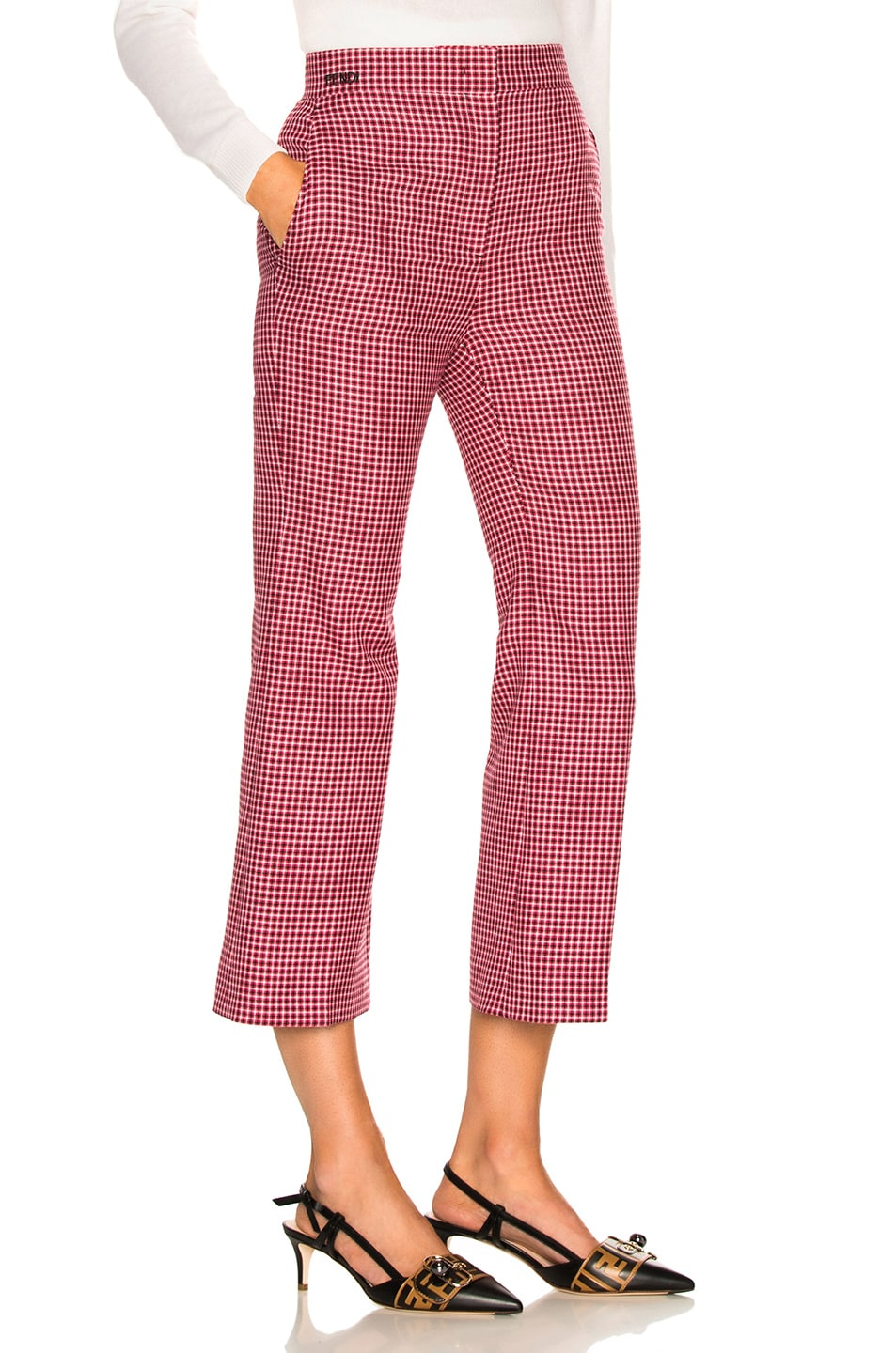 Image 2 of Fendi Micro Madras Wool Pants in Jelly