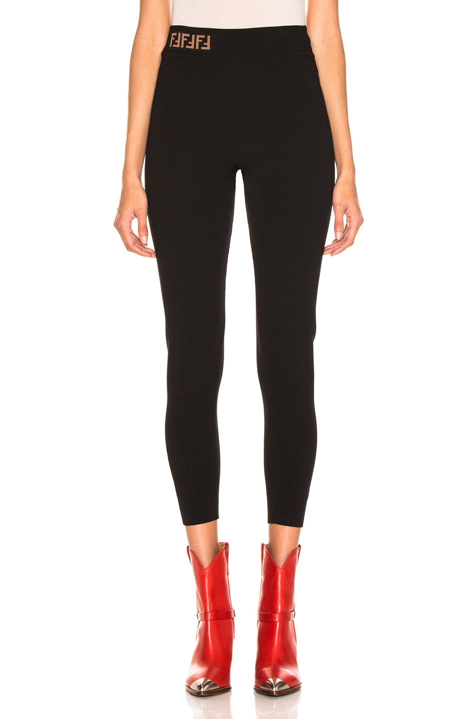 Image 1 of Fendi Logo Legging in Black