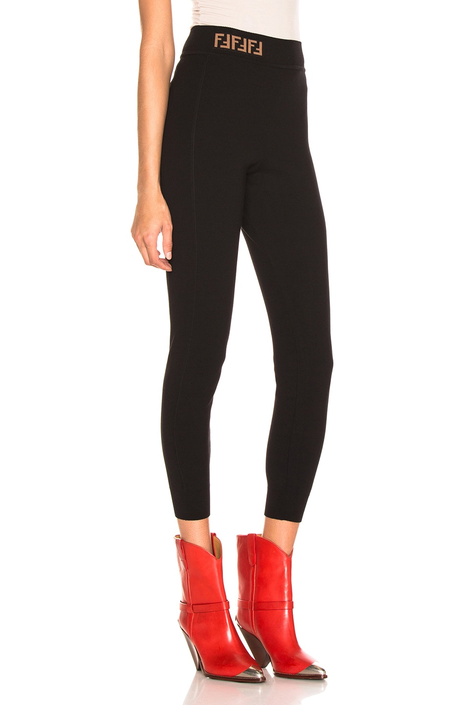 Image 2 of Fendi Logo Legging in Black