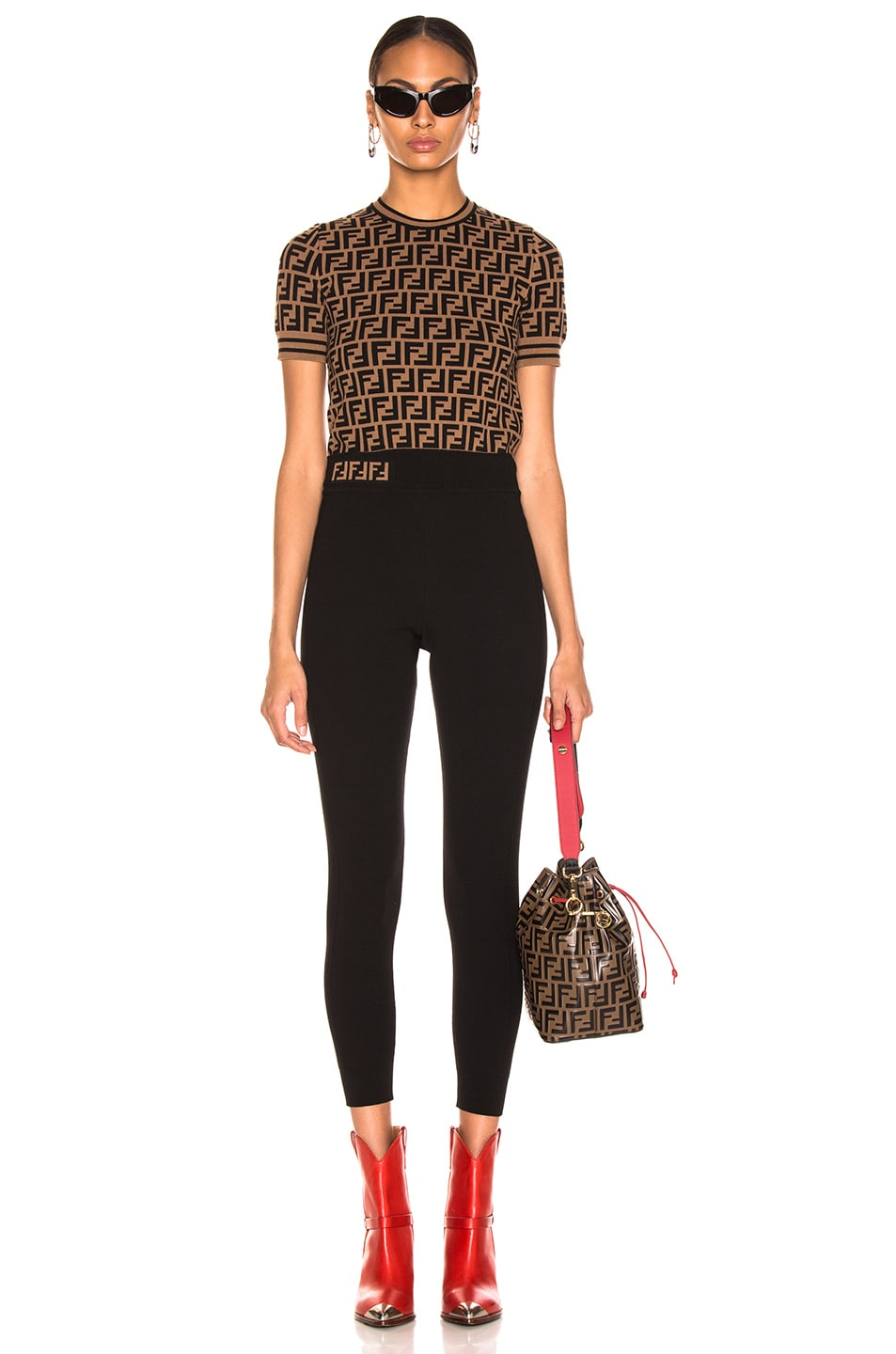 Image 4 of Fendi Logo Legging in Black