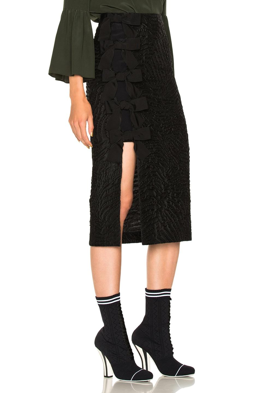 Image 1 of Fendi Bow Detail Slit Pencil Skirt in Black
