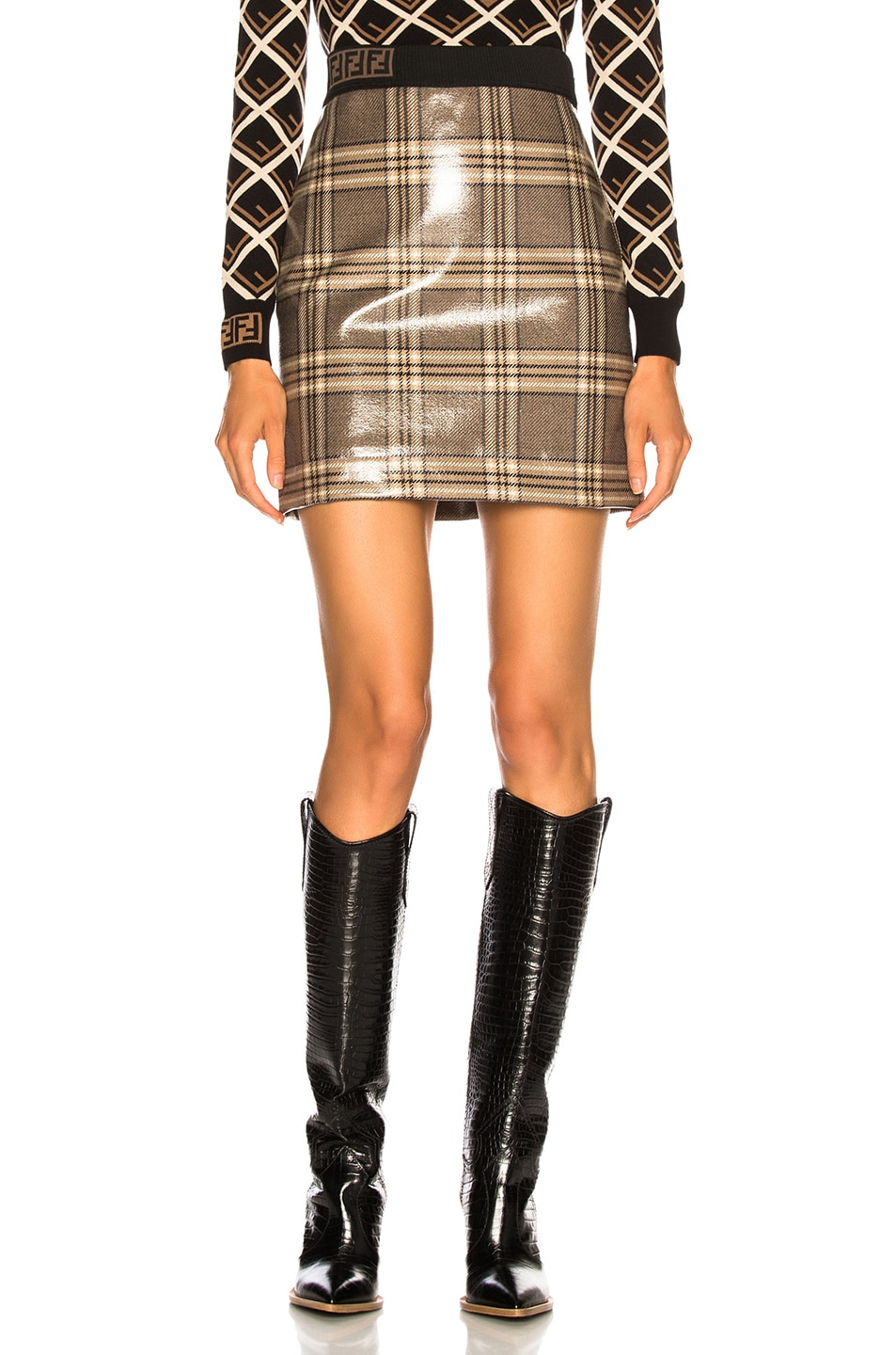 Image 1 of Fendi Glazed Prince of Wales Plaid Mini Skirt in Basalt & Marble