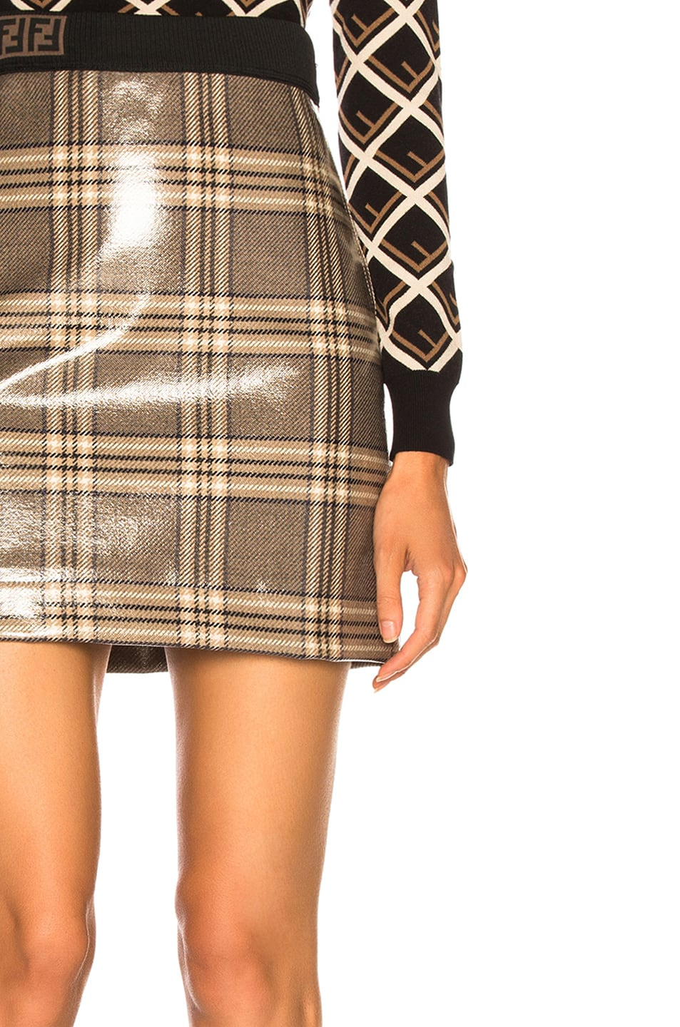 Image 6 of Fendi Glazed Prince of Wales Plaid Mini Skirt in Basalt & Marble