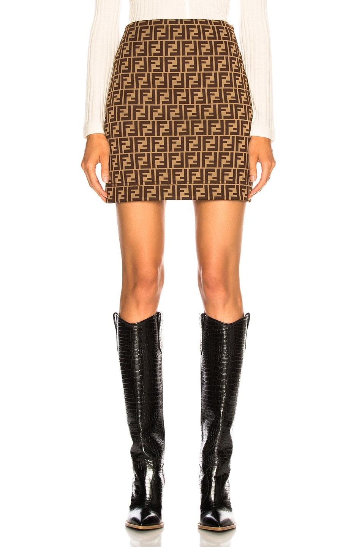Image 1 of Fendi Logo Print Mini Skirt in Tobacco