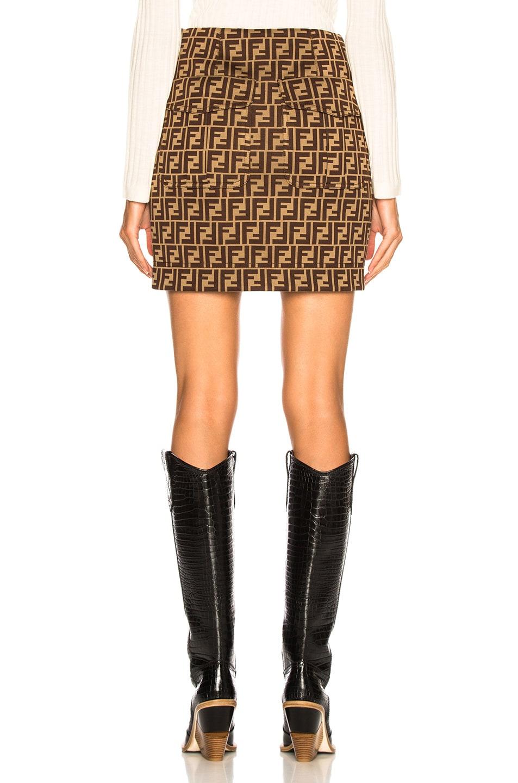 Image 3 of Fendi Logo Print Mini Skirt in Tobacco