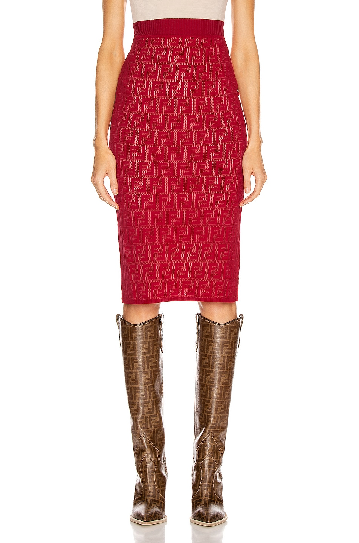 Image 1 of Fendi FF Midi Skirt in Fuchsia